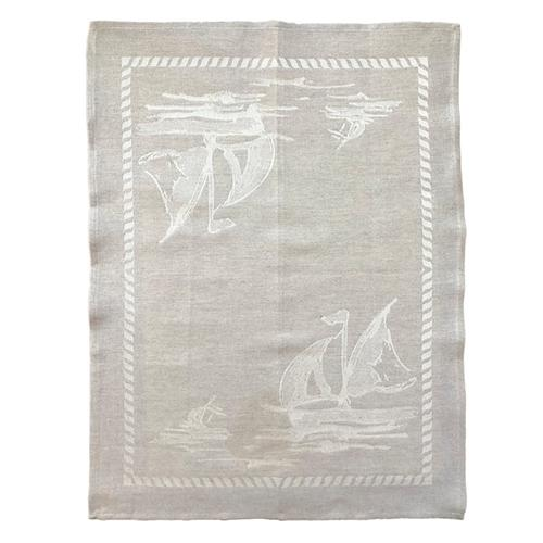 "Sailboat Natural Linen & Cotton Kitchen Towel, 31"" x 23"", Set of 4 by Abbiamo Tutto"