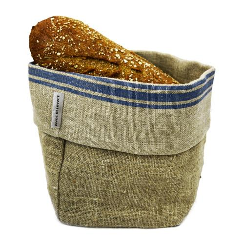 French Monogramme Linen Bread Basket by Thieffry Freres & Ci