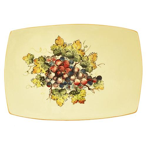 "Vineyard Purple Grapes Rectangle Tray, 15.5"" x 10"" by Abbiamo Tutto"