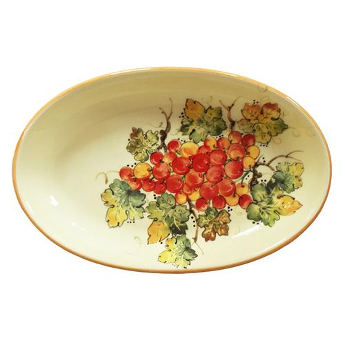 "Vineyard Red Grapes Oval Plate, 10"" x 7"" by Abbiamo Tutto"