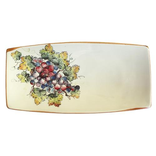 "Vineyard Purple Grapes Small Rectangle Tray, 10"" x 5"""" by Abbiamo Tutto"