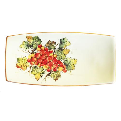 "Vineyard Red Grapes Small Rectangle Tray, 10"" x 5"""" by Abbiamo Tutto"