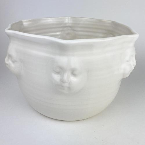 "Viso Faces White Bowl, 9"" x 6"" by Michael Wainwright"