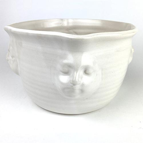 "Viso Faces White Bowl, 6.5"" x 3.75"" by Michael Wainwright"