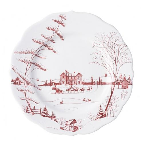 Country Estate Winter Frolic Ruby Dinner Plate, Christmas Eve by Juliska