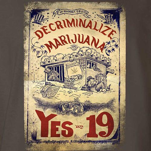 California Proposition 19 Decriminalize Marijuana T-Shirt by Hippo-Tees