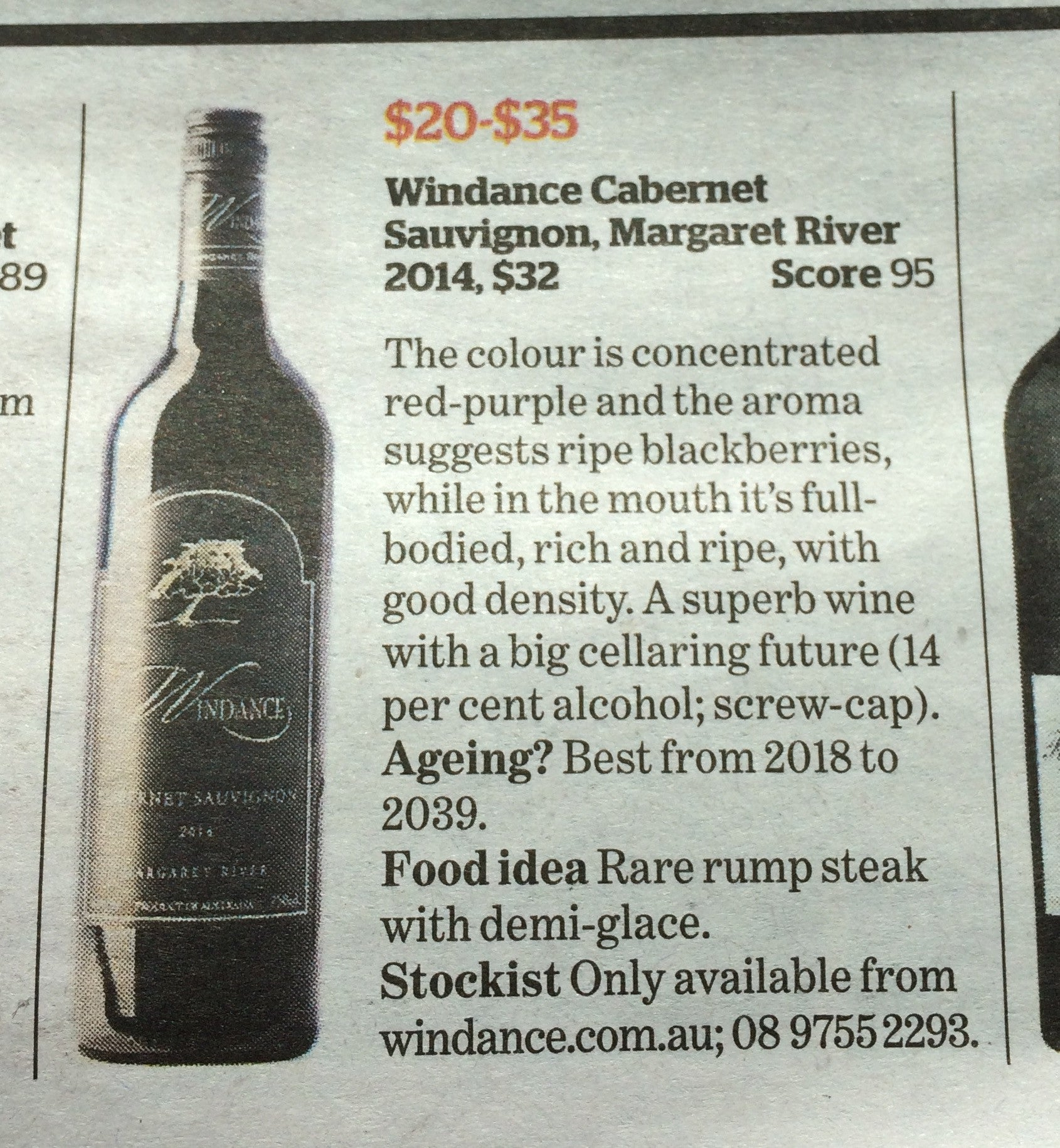 95 points - 2014 Cabernet Sauvignon - The Age & Sydney Morning Herald