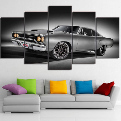 Plymouth Road Runner Muscle Car 5 Panel Canvas Wall Art Print