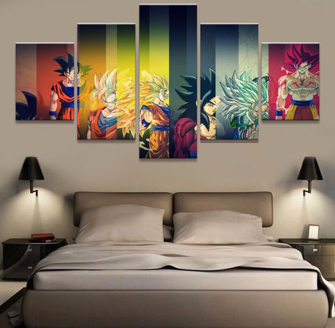 Dragon Ball Z Goku Super Saiyen 5 Panel Canvas Wall Art Print