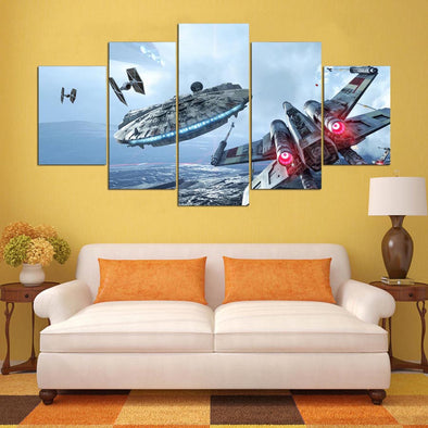 X Wing  Falcon Star Wars 5 Panel Canvas Wall Art Print