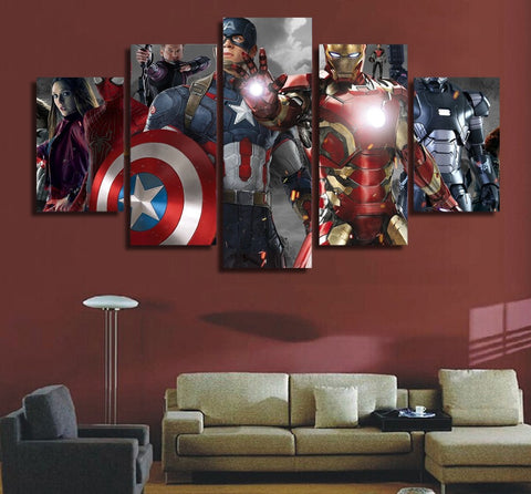 The Avengers Squad 5 Panel Canvas Wall Art Print