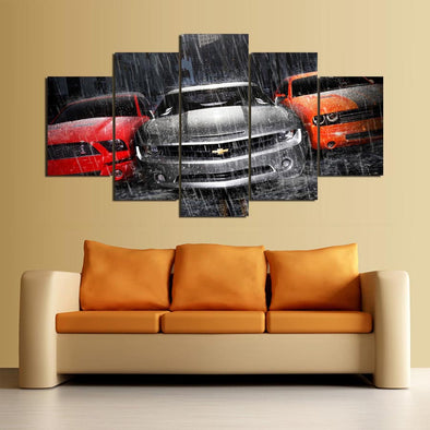 Camero Muscle Car 5 Panel Canvas Wall Art Print