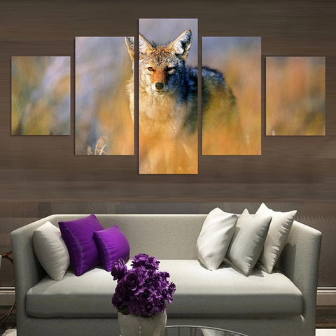 Coyote Animal  5 Panel Canvas Wall Art Print