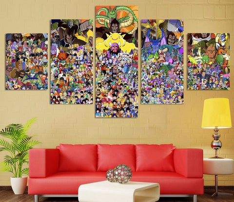 Dragon Ball Z Universe 5 Panel Canvas Wall Art Print
