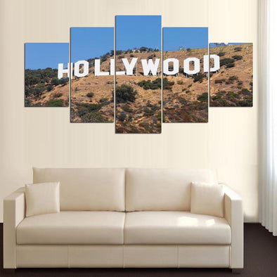 Hollywood Sign 5 Panel Canvas Wall Art Home Decor