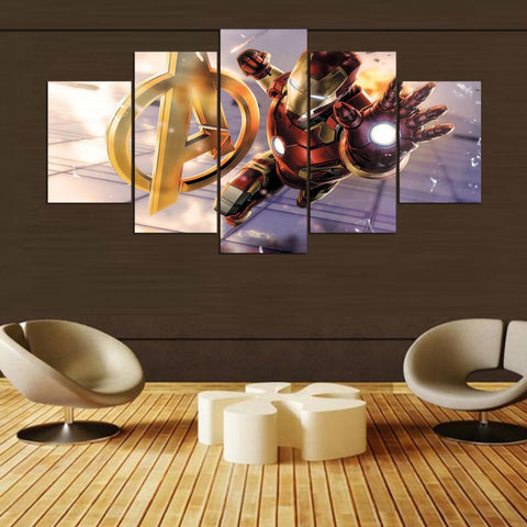 The Avengers Logo  Iron Man Beam 5 Panel Canvas Wall Art Print