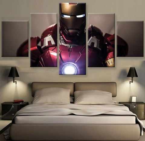 The Avengers Iron Man 5 Panel Canvas Wall Art Print