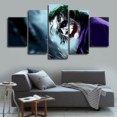 The Joker Flaming Aces Canvas 5 Panel Home Decor Sport Wall Art