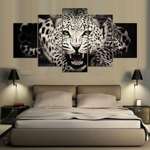 Leopard Animal  5 Panel Canvas Wall Art Print