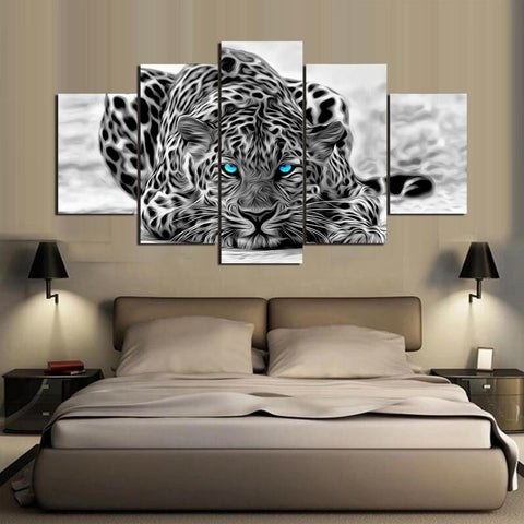 Leopard Blue Eyes Animal  5 Panel Canvas Wall Art Print