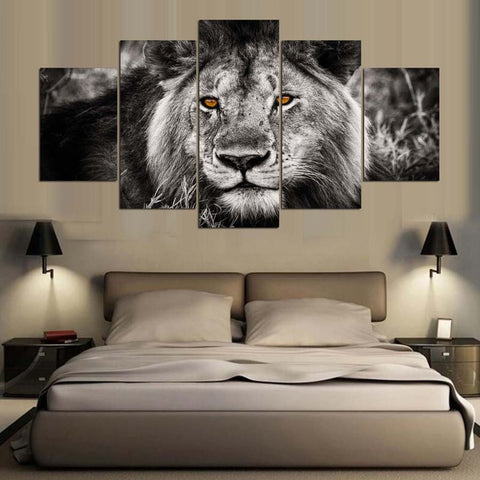 Lion Animal  5 Panel Canvas Wall Art Print