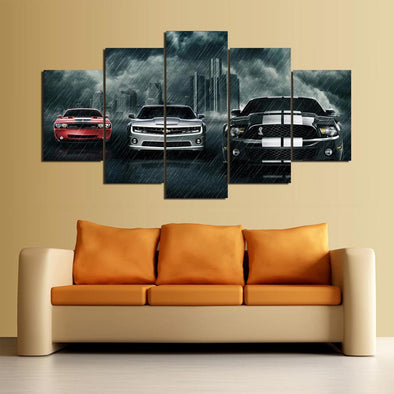 Ford Mustang Camero  Muscle Car 5 Panel Canvas Wall Art Print