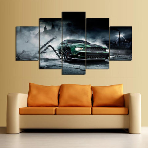 Ford Mustang Muscle Car 5 Panel Canvas Wall Art Print