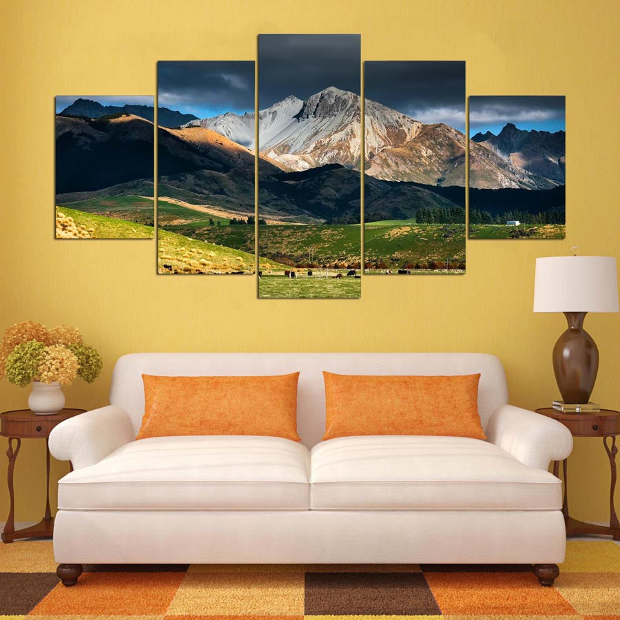 New Zealand Mountains 5 Panel Canvas Wall Art Home Decor – Home ...