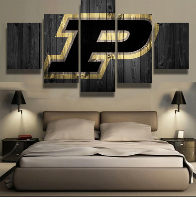 Purdue Boilermakers NCAA College 5 Panel Canvas Wall Art Home Decor