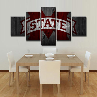 Mississippi State Bulldogs NCAA Football 5 Panel Canvas Wall Art Home Decor