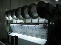 Front view of microfiber weaving machine in Eurow production facility