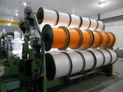 View of the back of microfiber fabric weaving machine