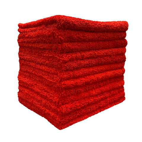 Barrett-Jackson® 16 x 16 in. 365 GSM Dope-Dyed Red Microfiber Towels – 12-pack