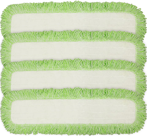 CleanAide® 24-in. Green Commercial Microfiber Dry Mop Pad Refills with Rope Borders – 4 Pack