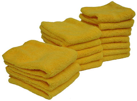 Detailer's Preference® 14 x 17 in. 300 GSM Yellow Microfiber High Pile Cleaning Towels – 15-Pack