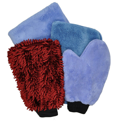 Detailer's Preference® Microfiber Car Wash Kit – 4-piece Set (2 Towels, 2 Mitts)