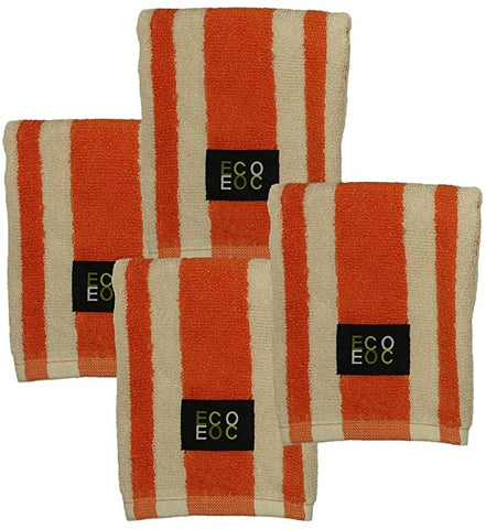 Eurow 12 x 12 in. 100% Cotton Rugby Stripe Natural Tan & Mandarin Orange Dish Towels – 4-pack