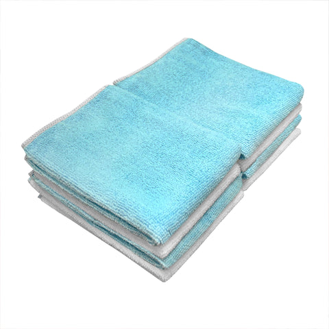 Detailer's Preference® 14 x 14 in. 230 GSM Microfiber Blue & White Cleaning Towels – 8-pack