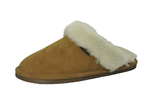Eurow Women's Hard Sole Sheepskin Scuff Slippers – Chestnut/White