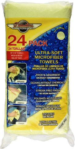 Detailer's Preference® 16 x 16 in. 325 GSM Microfiber DeLuxe Cleaning Towels – 24-pack