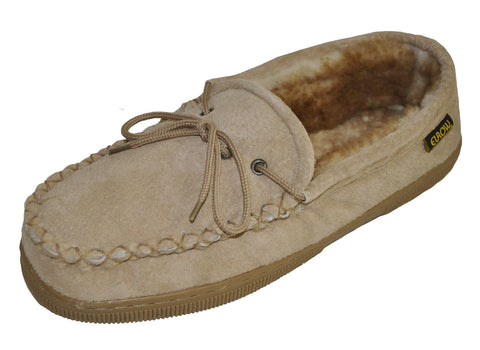 Eurow Men's Hard Sole Sheepskin Moccasin Slippers – Chestnut/Stony
