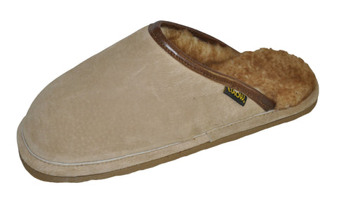 Eurow Men's Hard Sole Sheepskin Scuff Slippers – Sand/Stony