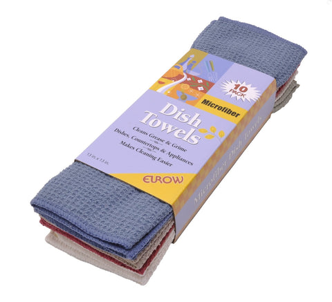 Eurow 13 x 13 in. 390 GSM Multicolor Microfiber Waffle Weave Dish Cloths – 10-pack