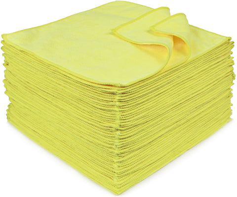 Eurow 12 x 12 in. 300 GSM Yellow Microfiber Cleaning Towels – 50-pack