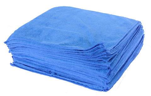 Eurow® Microfiber 16 x 16in Premium 350 GSM Cleaning Towels 25Pk (Blue)