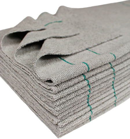 CleanAide Antimicrobial Silver Microfiber Towels Ultrasonic Cut 16 X 16 in. w/Pinstripes 12 Pack