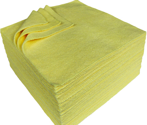 Detailer's Preference® 12 x 12 in. 300 GSM Ultrasonic Cut Yellow Microfiber Cleaning Cloths – 50-pack