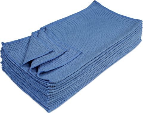 Eurow® Microfiber Waffle Weave Cleaning Towels 16 X 16 in. - Blue(12 Pack)