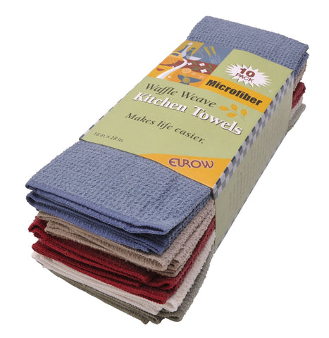 Eurow 16 x 28 in. 390 GSM Multicolor Microfiber Waffle Weave Kitchen Towels – 10-pack