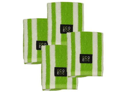 Eurow 12 x 12 in. 100% Cotton Rugby Stripe White & Lime Green Dish Towels – 4-pack
